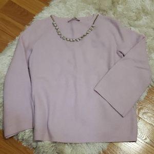 LOFT lavendar flare sleeve sweater